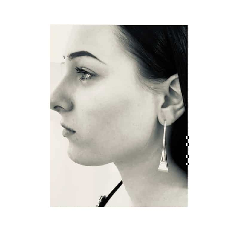 Silver earrings in the shape of a declining table