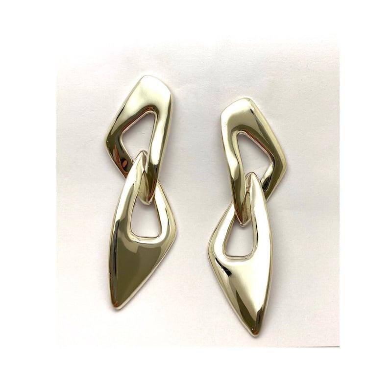 Orecchini in argento con due maglie irregolari