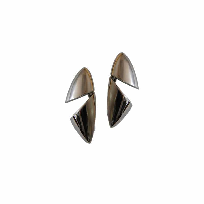 Brincos triangulares em prata de duas peças