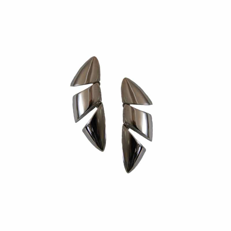 Pendientes de plata de tres piezas articuladas