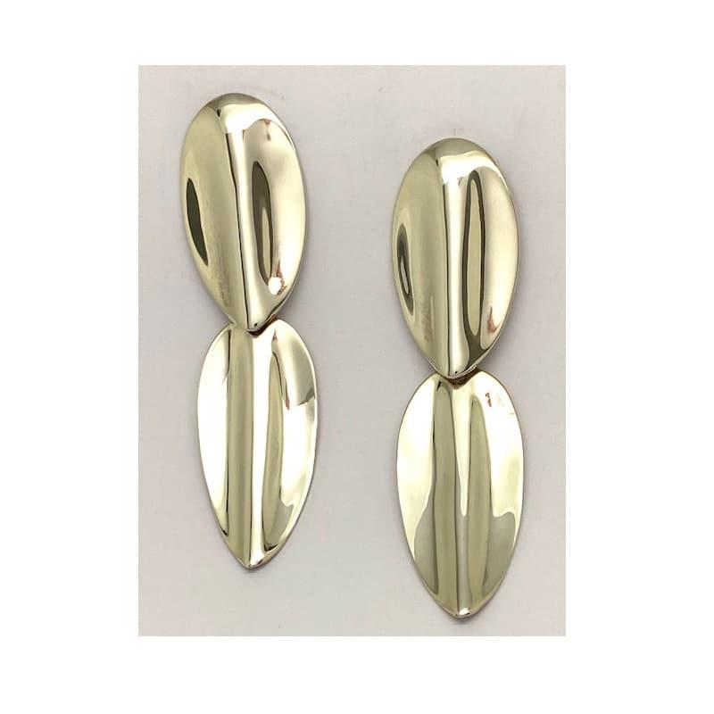 Pendientes de plata de dos piezas ovaladas
