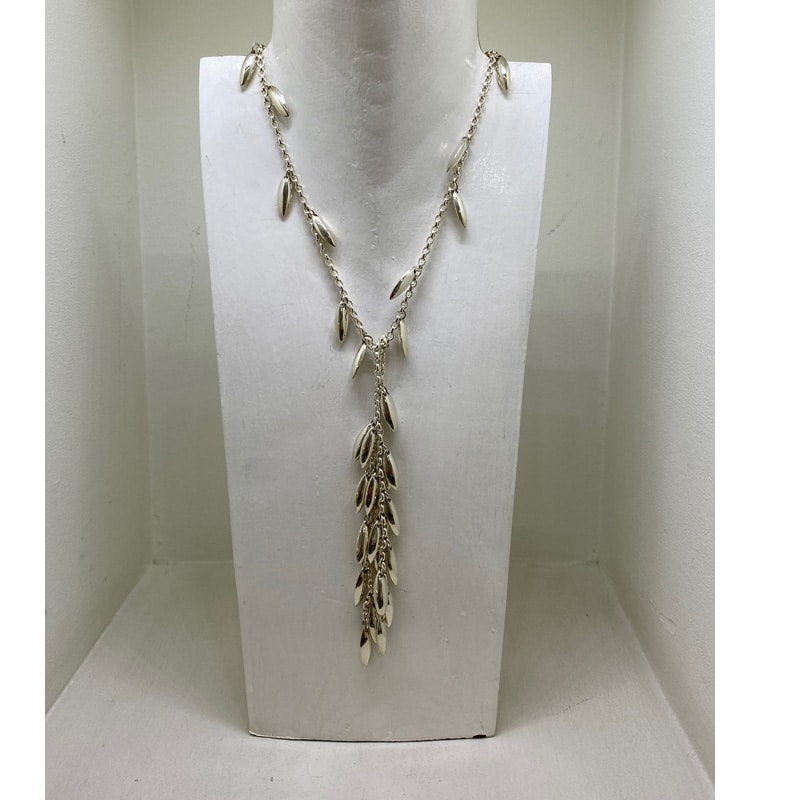 Silver necklace as a scarf in two bunches of nuggets