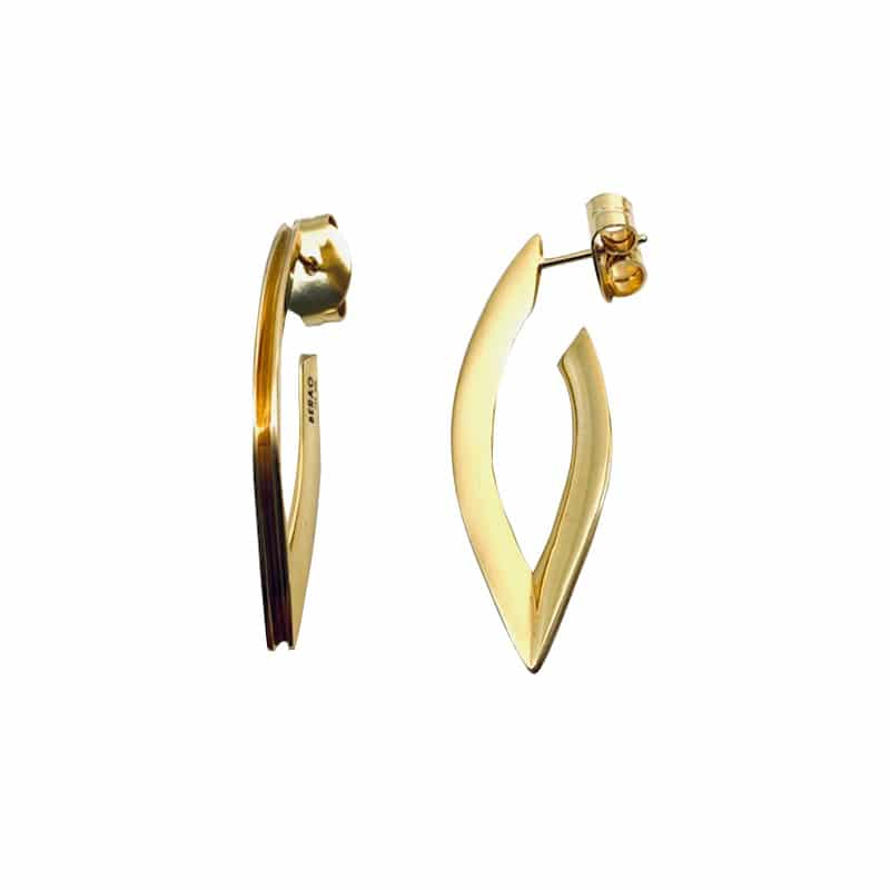 Navette shape gold earring