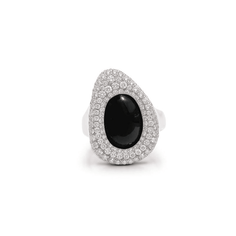 image of Ring in white gold, diamonds and stone in oval oranic shape