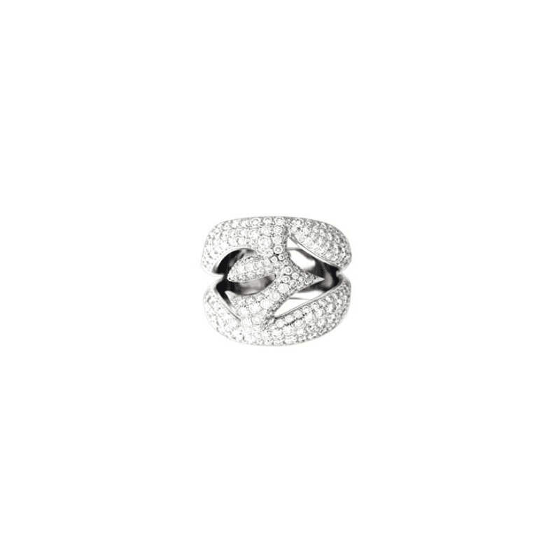 image of White gold and diamond ring with openwork leaves