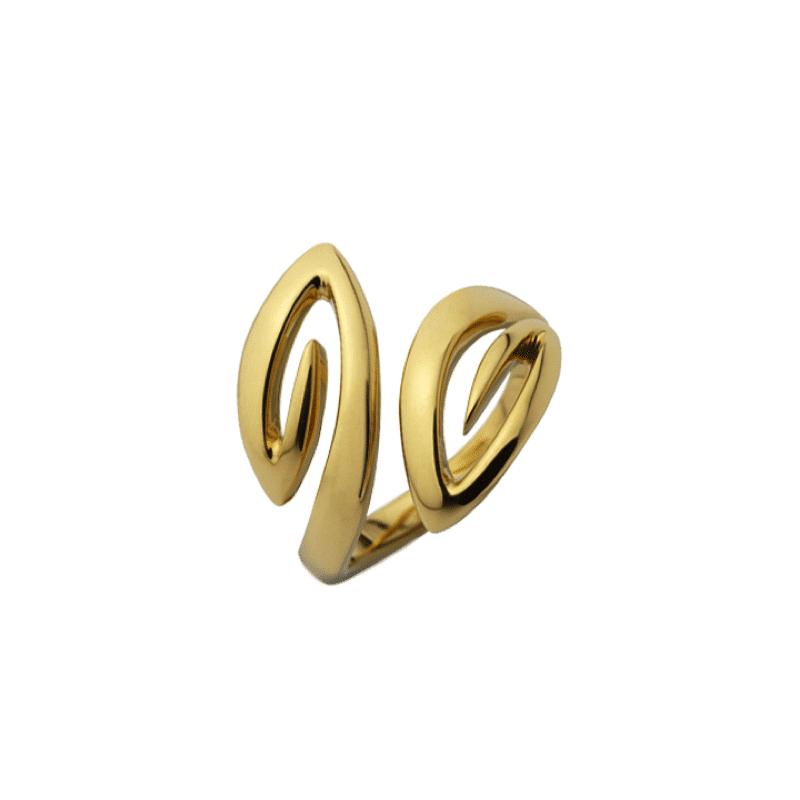 Anello in oro con due braccia che terminano con due ellissi in simmetria