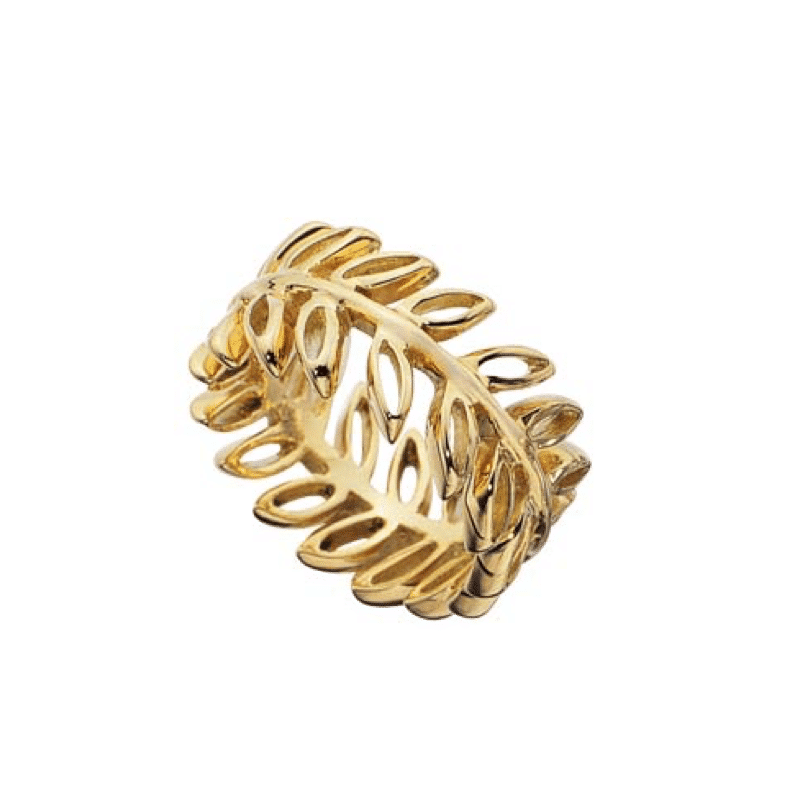 Gold ring on branch with openwork leaves