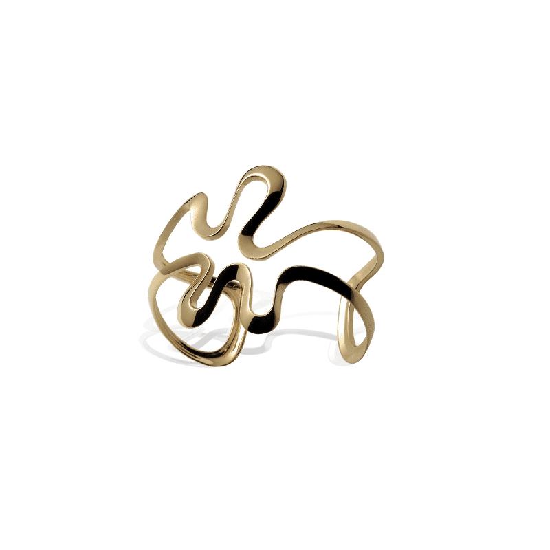 Brazalete de oro forma de ondas orgánicas