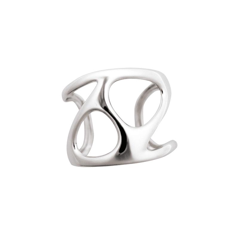 Brazalete de plata ancho con cuatro oquedades