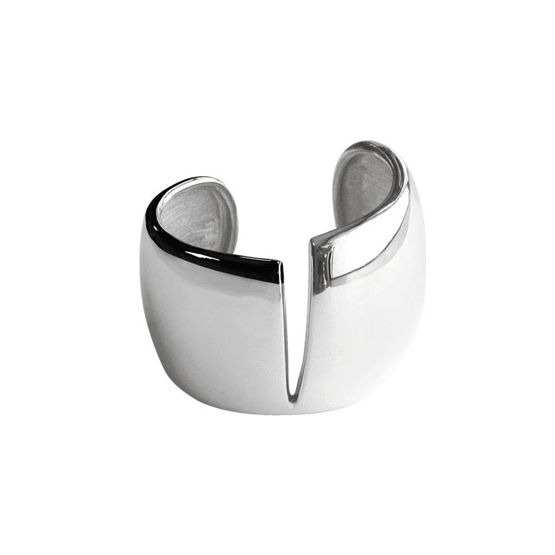 Brazalete de plata corte central