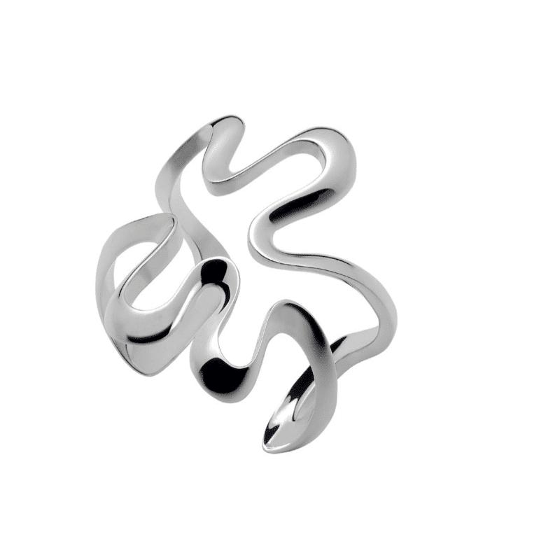 Brazalete de plata forma de ondas orgánicas