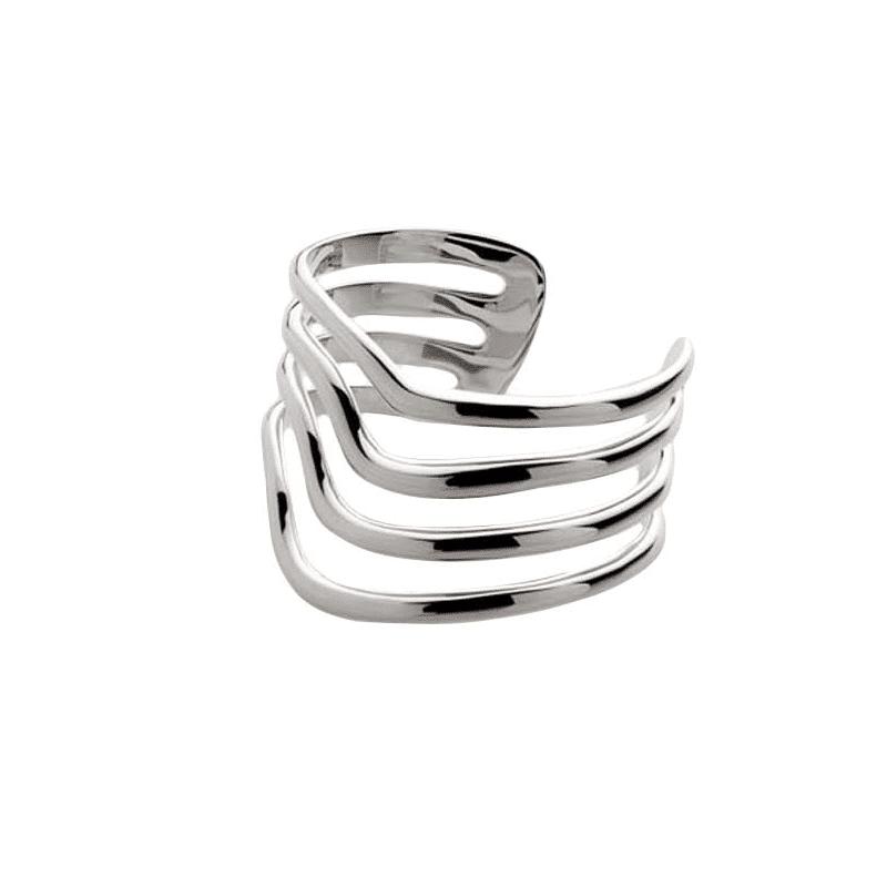 Brazalete de plata formado por cintas media caña