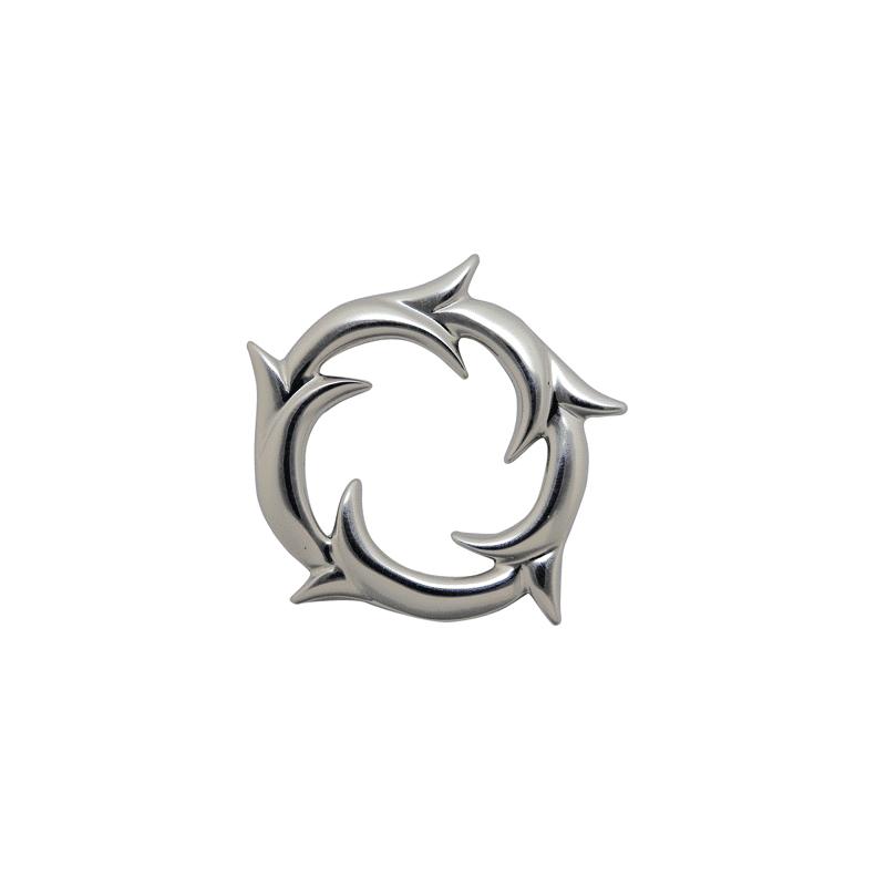 Colgante de plata circular con ramas de yedra
