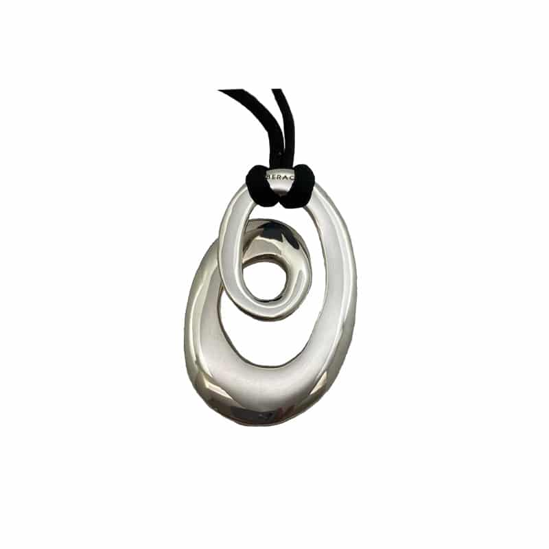 Silver pendant in oval spiral shape