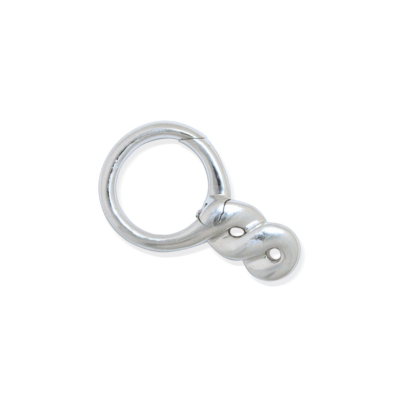 Silver keychain with turned shape