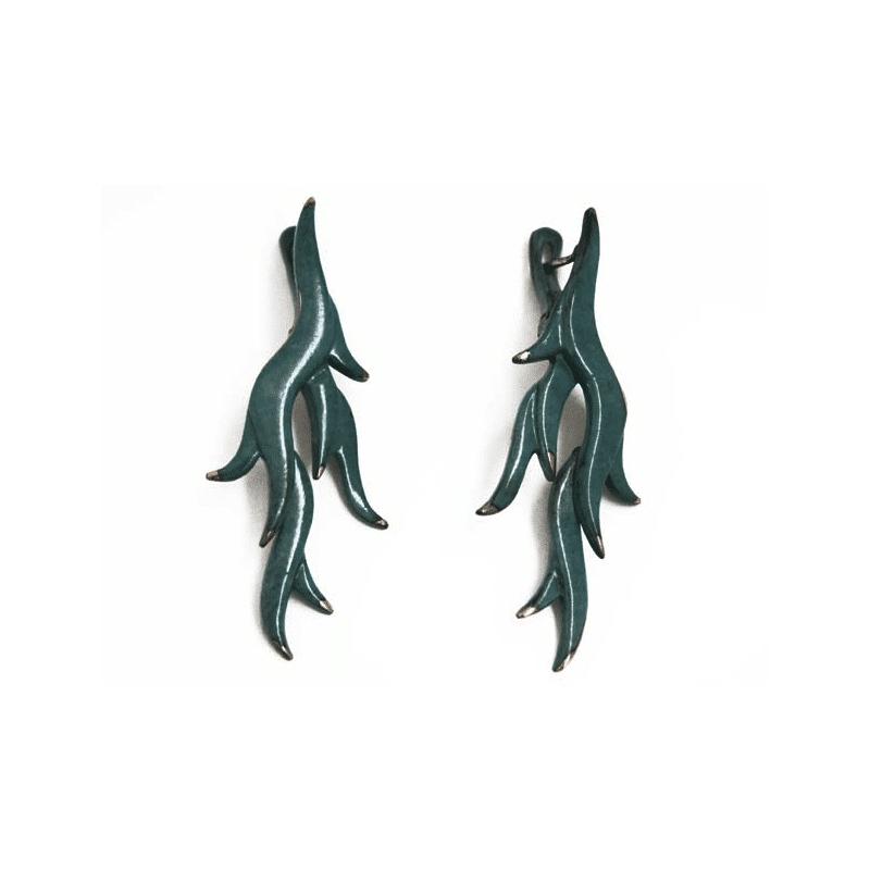 Orecchino in bronzo blu turchese, a forma di alga