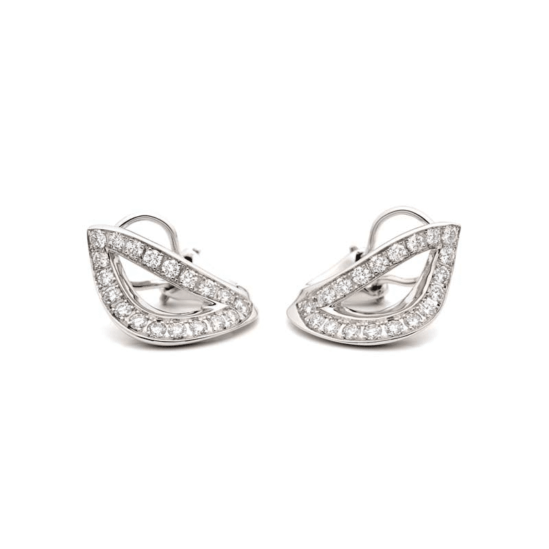 image of White gold diamond earrings in the shape of a leaf