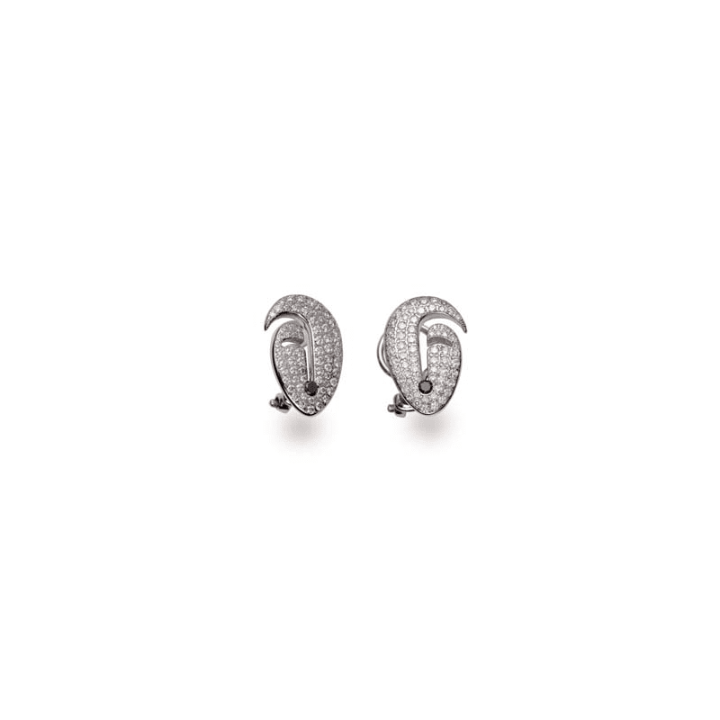 image of White gold and diamond earrings inspired by Mademoiselle Pogany