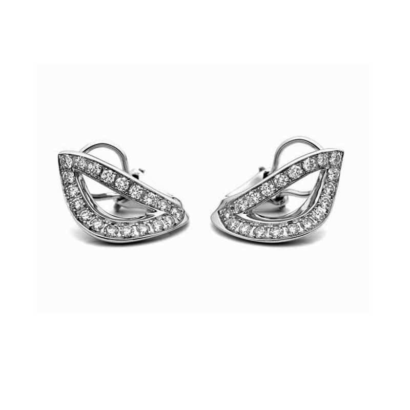 White gold and leaf-shaped diamond earrings