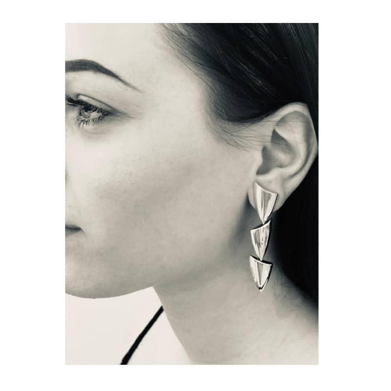 Boucles d'oreilles triangulaires en argent trois pièces
