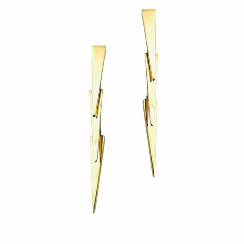 Pendiente de oro articulado con piezas simétricas