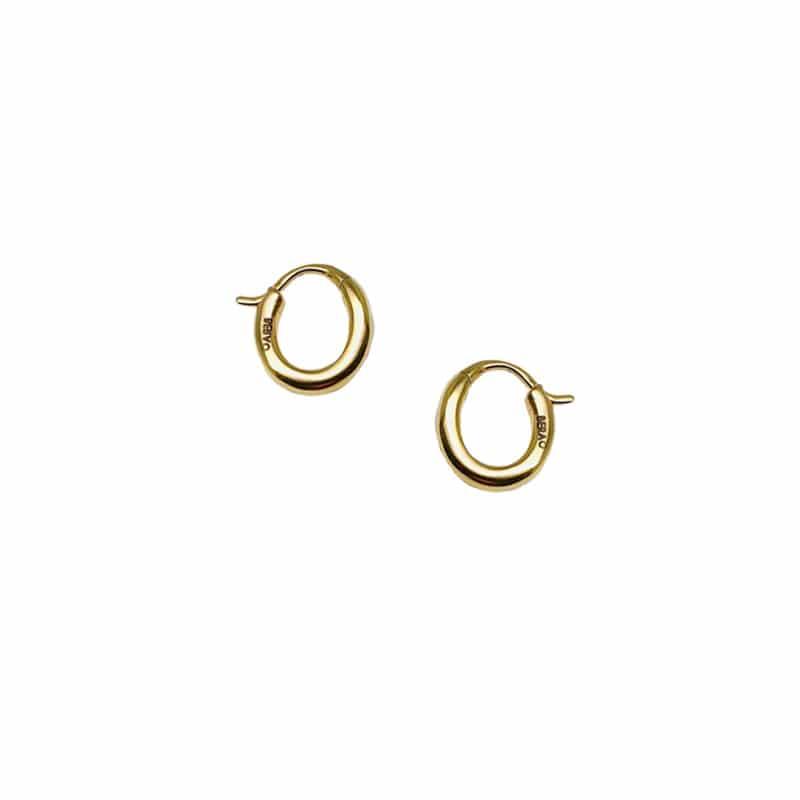 Pendientes de oro en aro mini ovalado