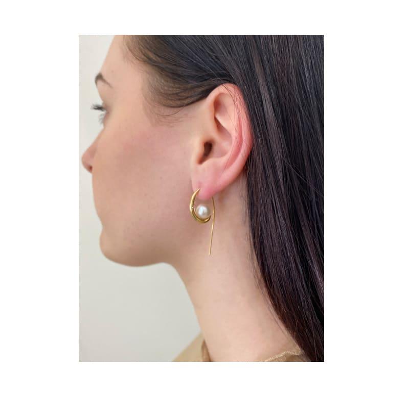 Pendiente de oro con perla Akoya