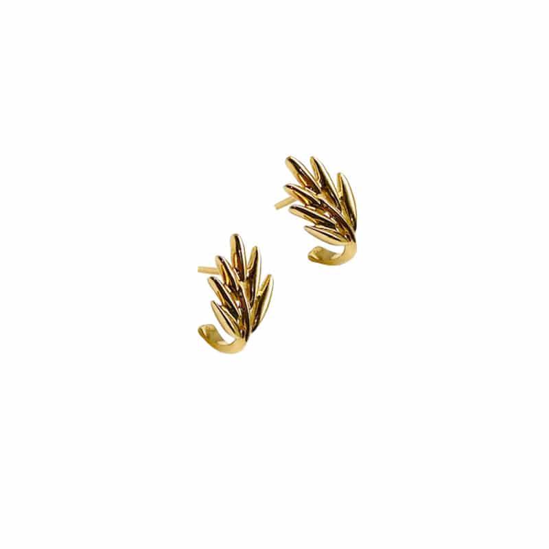 Pendientes de oro de hoja de palmera