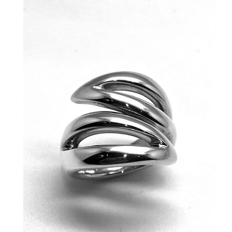 Anel de prata com dois braços em forma de folhas a céu aberto