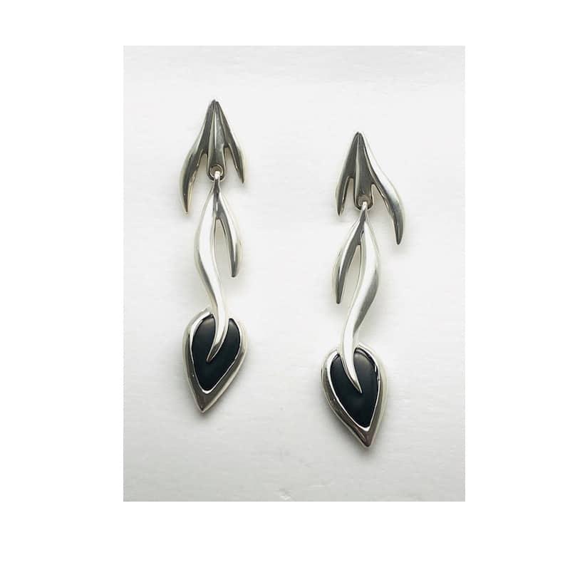 Brincos de ramo de prata com folha de prata
