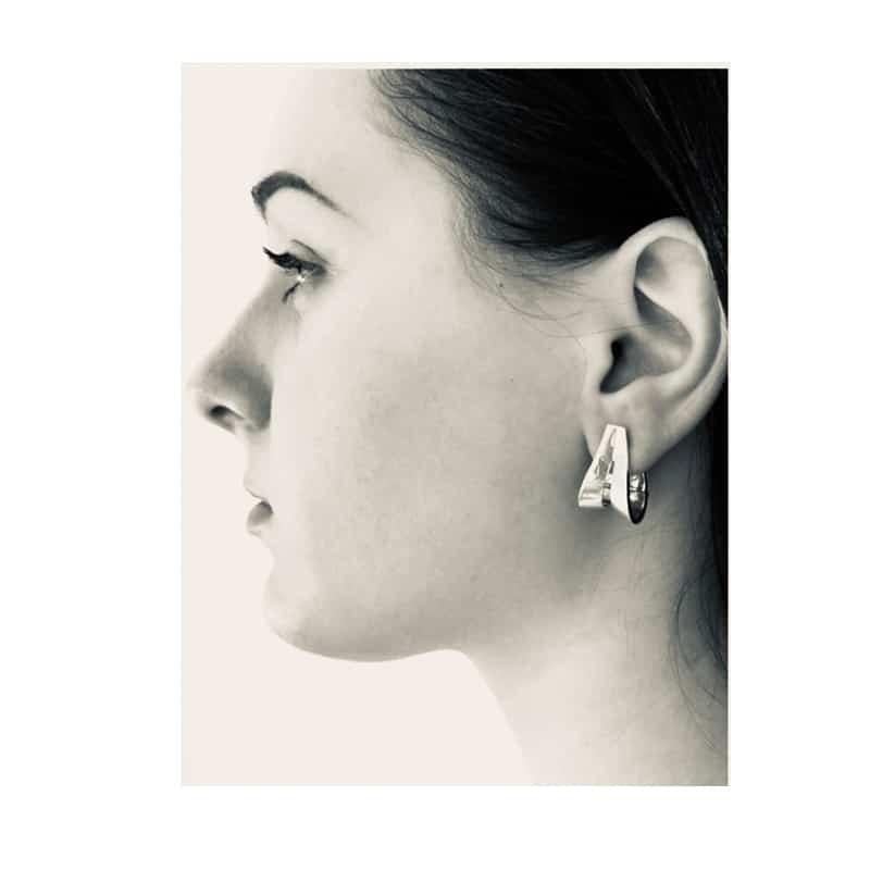 Oval creole silver earrings
