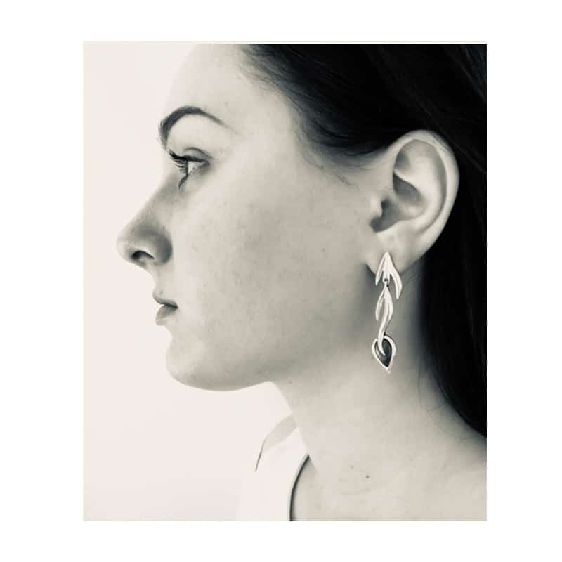 Branch silver earrings with silver leaf foil