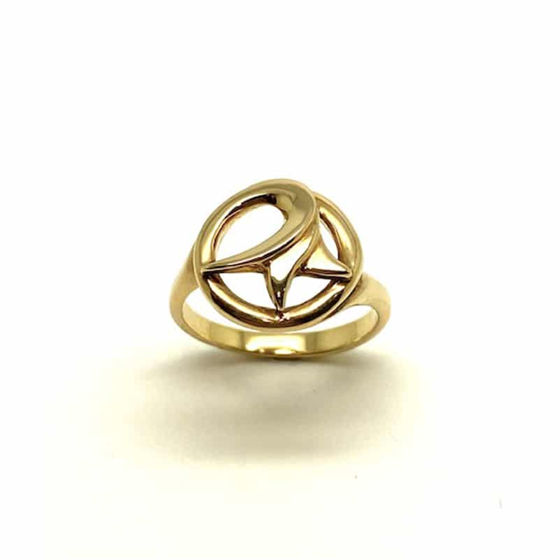 Anillo de Oro en forma de sello de lirio de mar