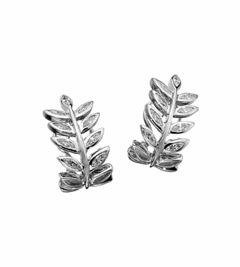 Boucles d'oreilles en or blanc et diamants branches avec feuilles