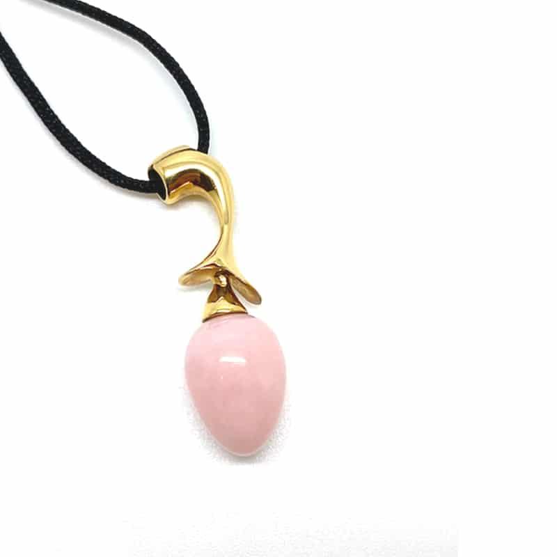 Colgante oro y ópalo rosa