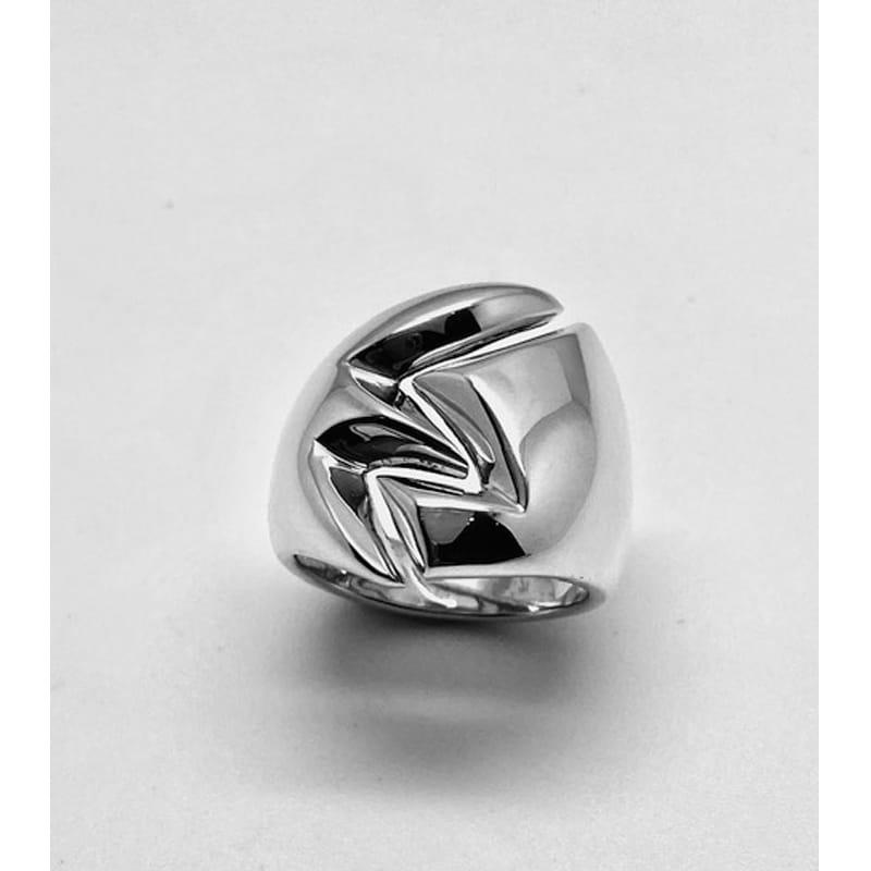 Anillo de plata con abertura en forma de hoja