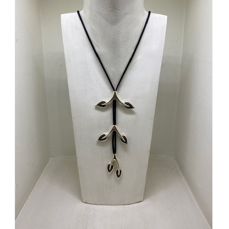 Silver 3-Piece Branch Necklace with Bunting Leaves