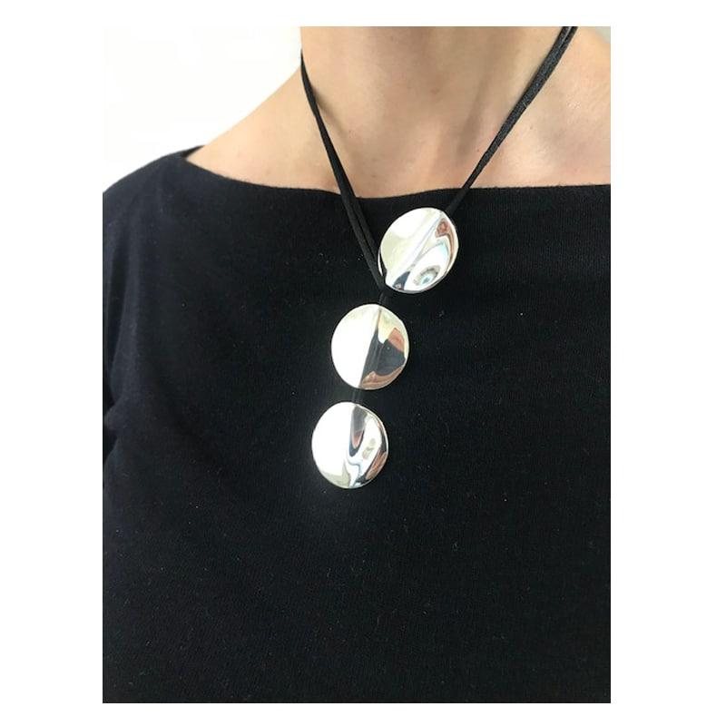 三件式丝线球形银项链