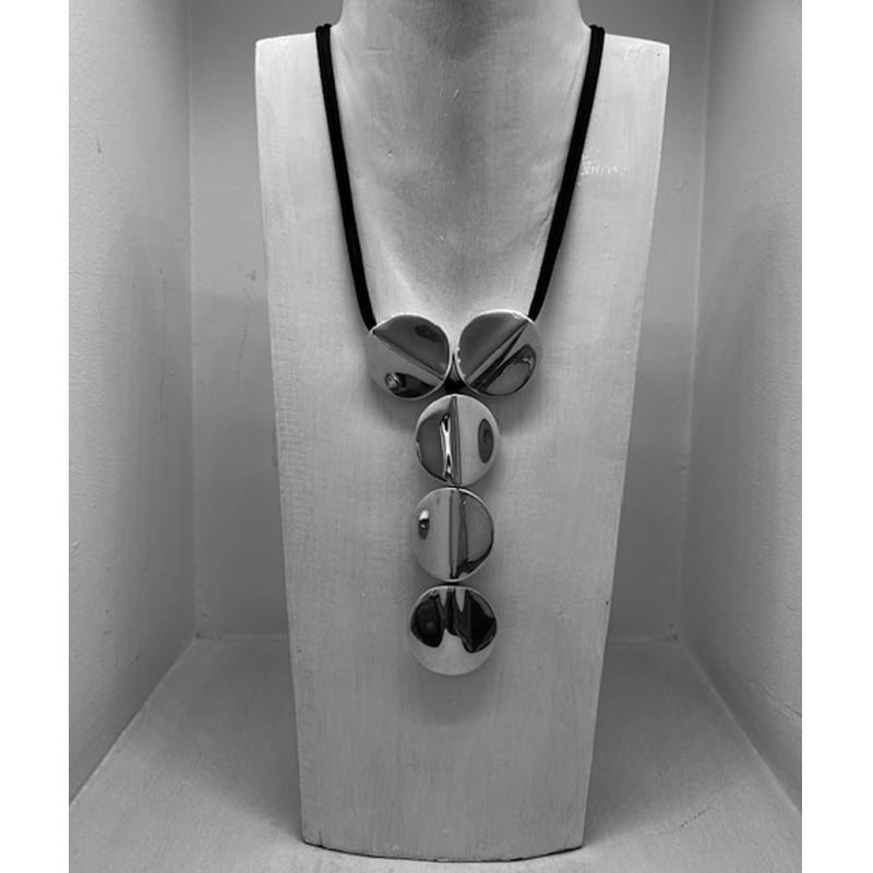 Silver necklace with 5 spherical pieces with silk cord