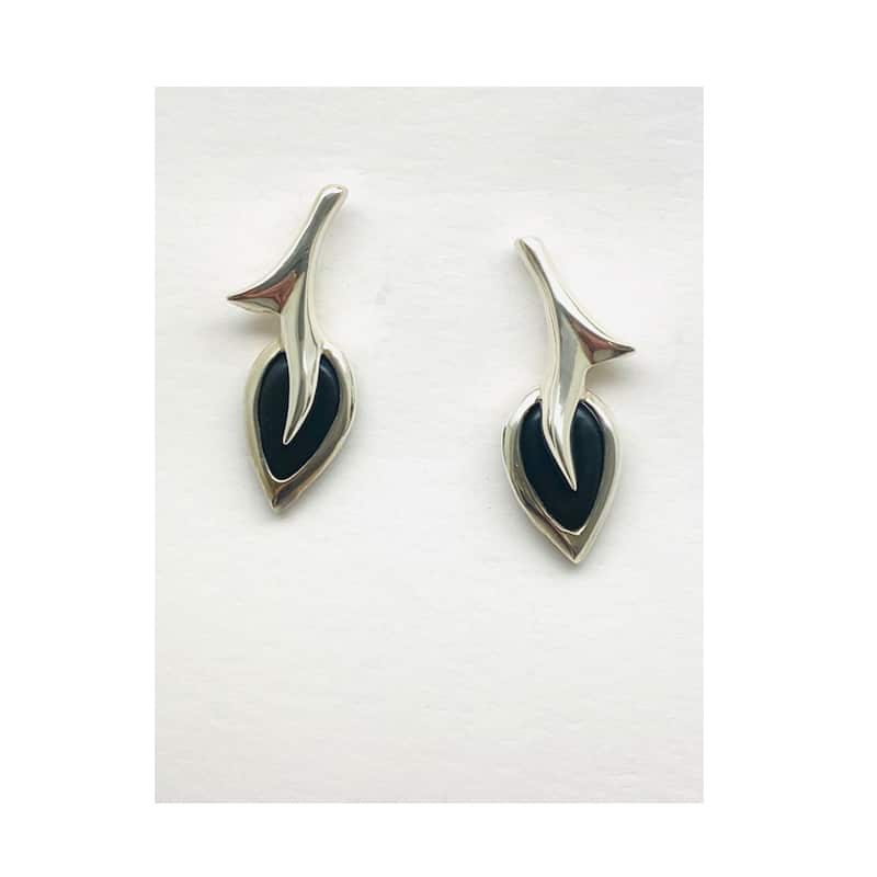 Short silver branch earrings with soaked silver leaf