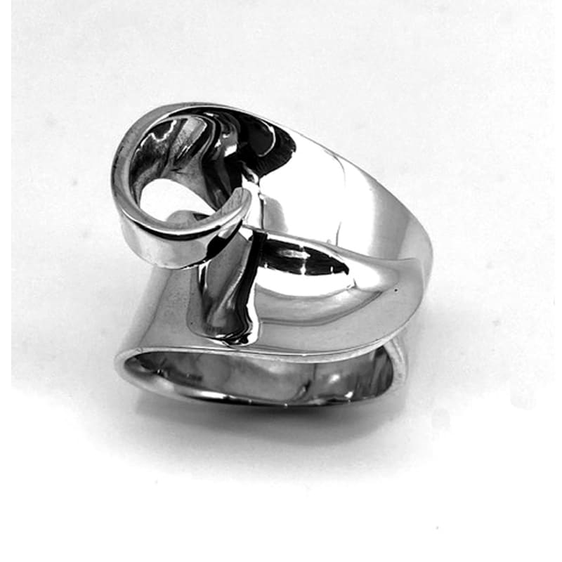 Anillo de plata dos brazos superpuestos