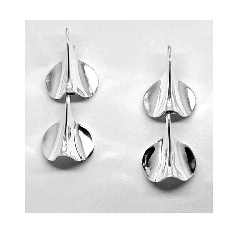 Pendientes plata pétalo articulado en dos piezas