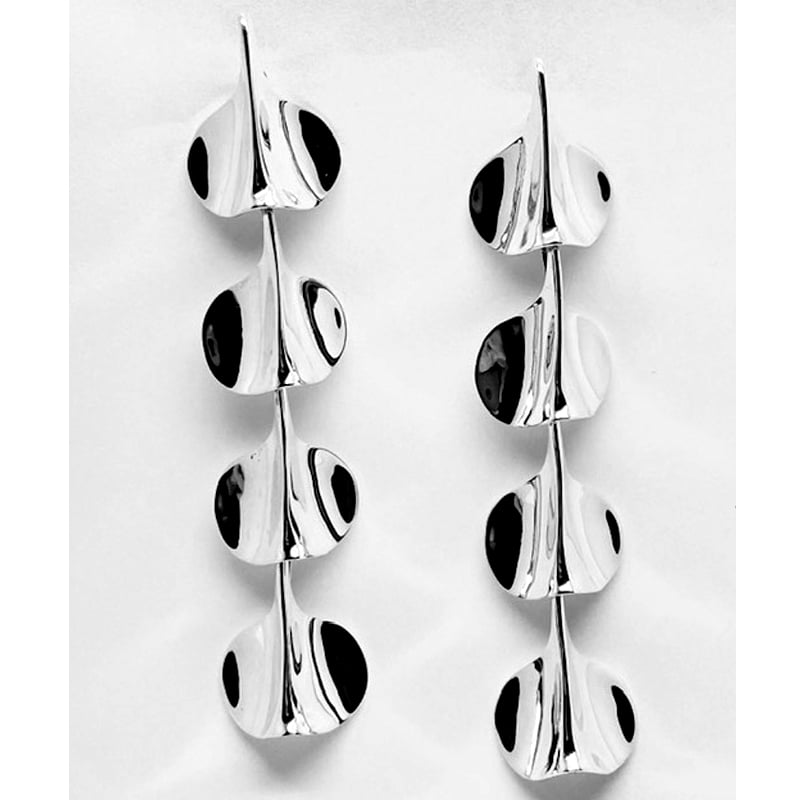 Four-piece articulated petal silver earrings