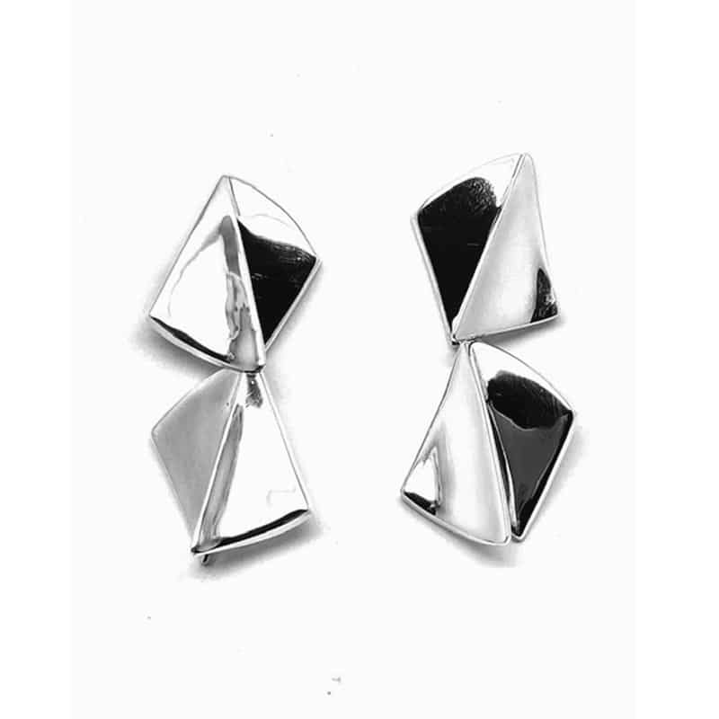 Articulated rhombus-shaped silver earrings