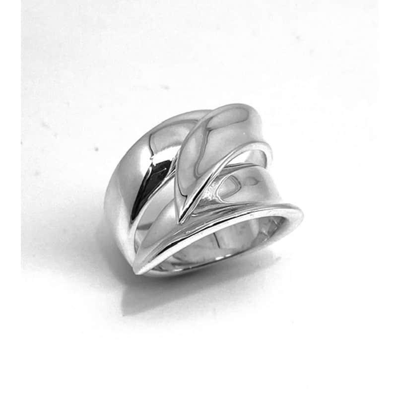 扁平螺旋银戒指